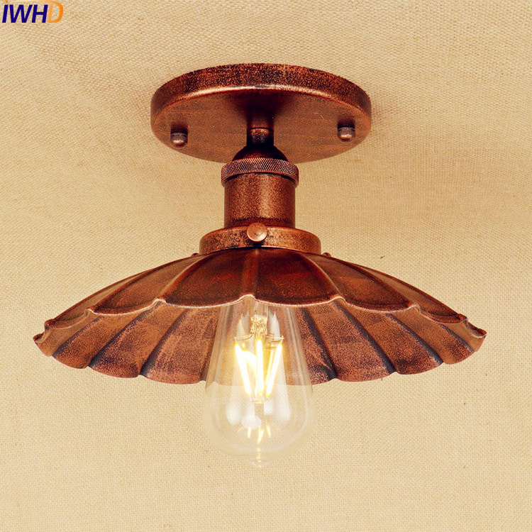 IWHD Ameican Retro Edison LED Ceiling Lamp Living Room Flush Mount Industrial Ceiling Light Lamparas De Techo Home Lighting