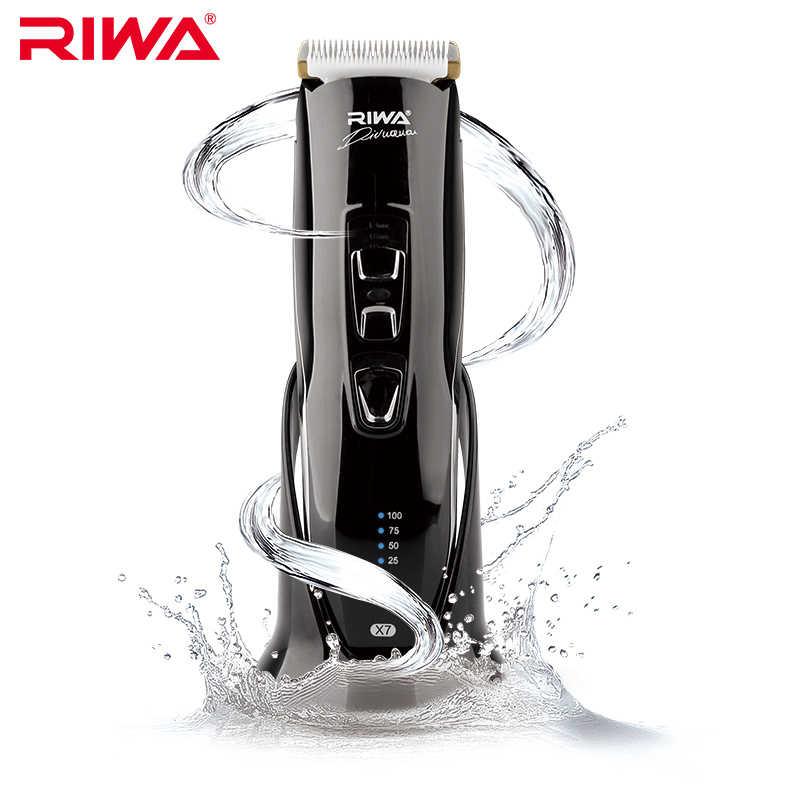 Cortadora de pelo RIWA, cortador de pelo inalámbrico lavable, Máquina para cortar cabello para adultos y niños con soporte de carga X7