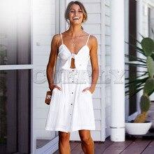 Cuerly Elegant Button Women Dress Pocket Sleeveless White Bow Short Dresses Summer Casual Female Strap Beach Vestidos L8
