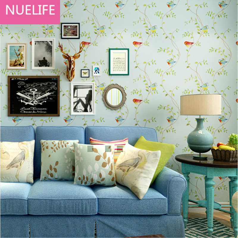0.53x10 Meter Pastoral American Birds Pattern Wallpaper Kids Room Bedroom Sofa Background  Restaurant Non-woven Wallpaper0.53x10 Meter Pastoral American Birds Pattern Wallpaper Kids Room Bedroom Sofa Background  Restaurant Non-woven Wallpaper