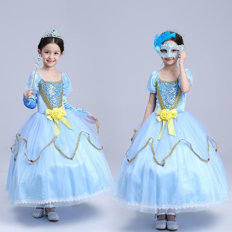 Spring Bow Kids Girls Wedding Dress Cinderella Princess Kids Clothing Blue Mesh Lace Bow