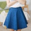 2016 американский стиль девушки летние saias джинсы юбка дамы короткие джинсовые жан-линии синий джинсовые юбки femininas комбинезоны