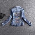 New 2017 Jaqueta Jeans Mulheres Curtas Calças de Brim do Sobretudo Senhoras Jaquetas Tops Turn Down Collar Magro Jeans Azul Top de Alta Qualidade E471