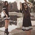 Las nuevas mujeres del verano dress o-cuello de manga corta estilo nacional impreso ropa casual vestidos mini dress boho de la vendimia negro