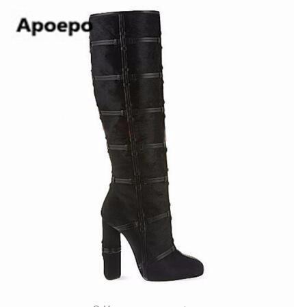 6b541963bf88 Date Nouveau Design dames de longues bottes En Cuir Noir chaussures Talon  Épais haute talons cuissardes