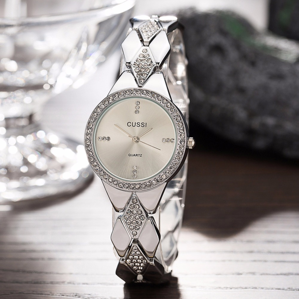 WA226 CUSSI Womens Watches Silver Luxury Rhinestone Ladies Bracelet Fashion Dress Quartz Wristwatch reloj mujer Gifts