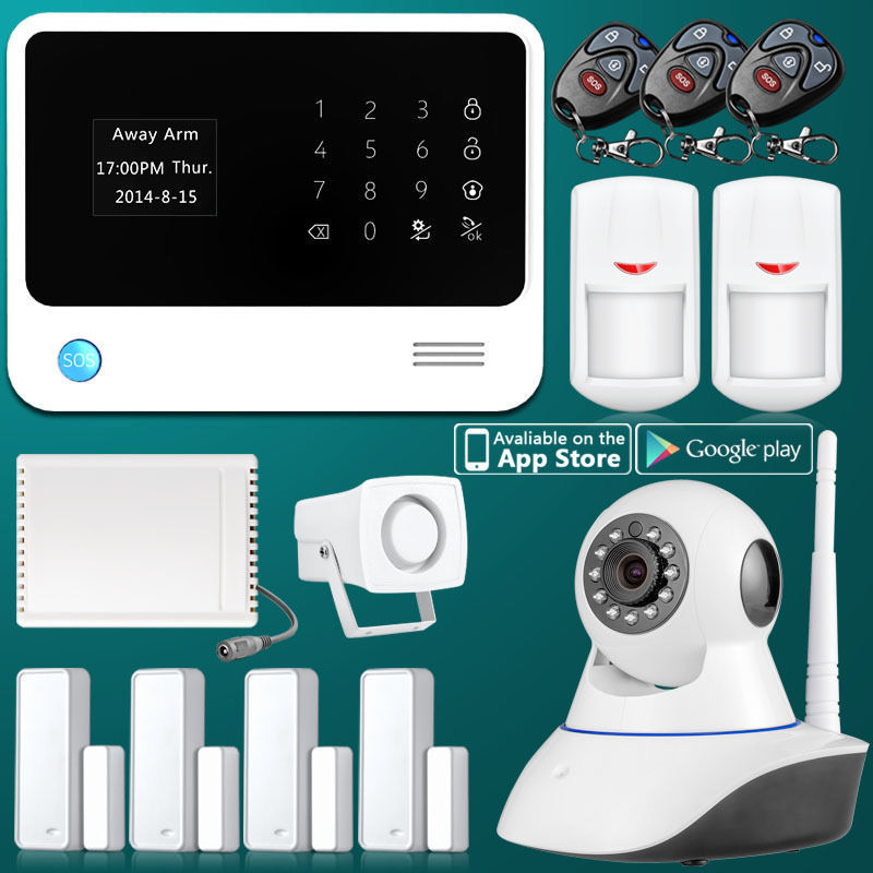 Touch Screen G90B WiFi GSM Home Alarm With Camera IOS Android APP Control Wireless Relay 4CH Door Contact PIR Motion Detector