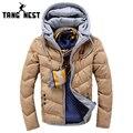 Tangnest jóvenes encapuchados estilo 2017 nueva llegada de la manera con capucha caliente parka slim fit casual tamaño asiático sólido abrigo masculino mwm1573