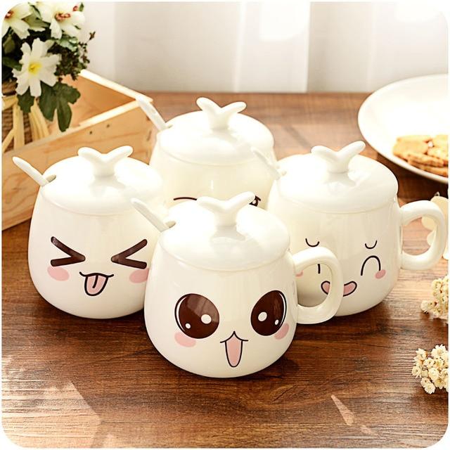 Creative Cute Expression Ceramic Coffee Mugs Juice Milk Tea Cups and Mugs Kawaii Porcelain Mugs Drinkware Unique Gifts