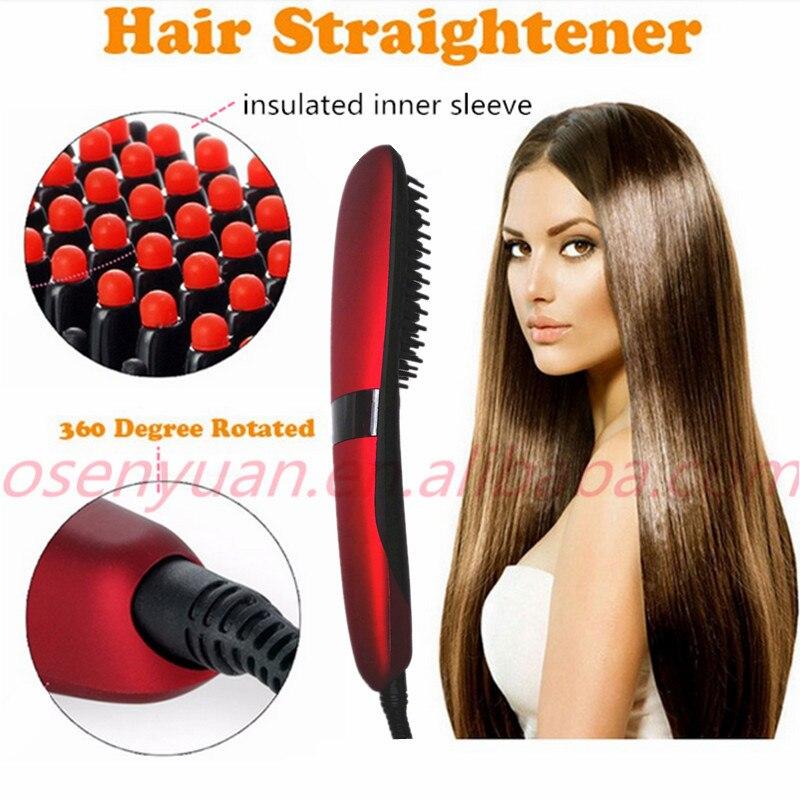 2018 NASV Brush Hair Straightener Professional Hair Straightener Comb Electric Heating Irons Ceramic Hair Straightening Brush