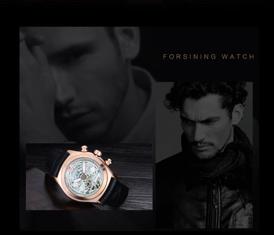 Forsining Convex Glass Stylish Tourbillion 3D Genuine Leather Strap Mens Watches Top Automatic Watch Clock (2)
