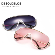 Oversized sunglasses women big brand vintage eyewear gold clear lens metal frame sun glasses shield eyeglasses men oculos UV400