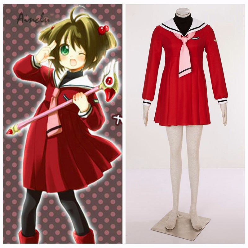 Ainclu Halloween Costume Cardcaptor Sakura Anime Kinomoto Sakura Cosplay Uniform 4th Halloween Cosplay Costume Adult Halloween
