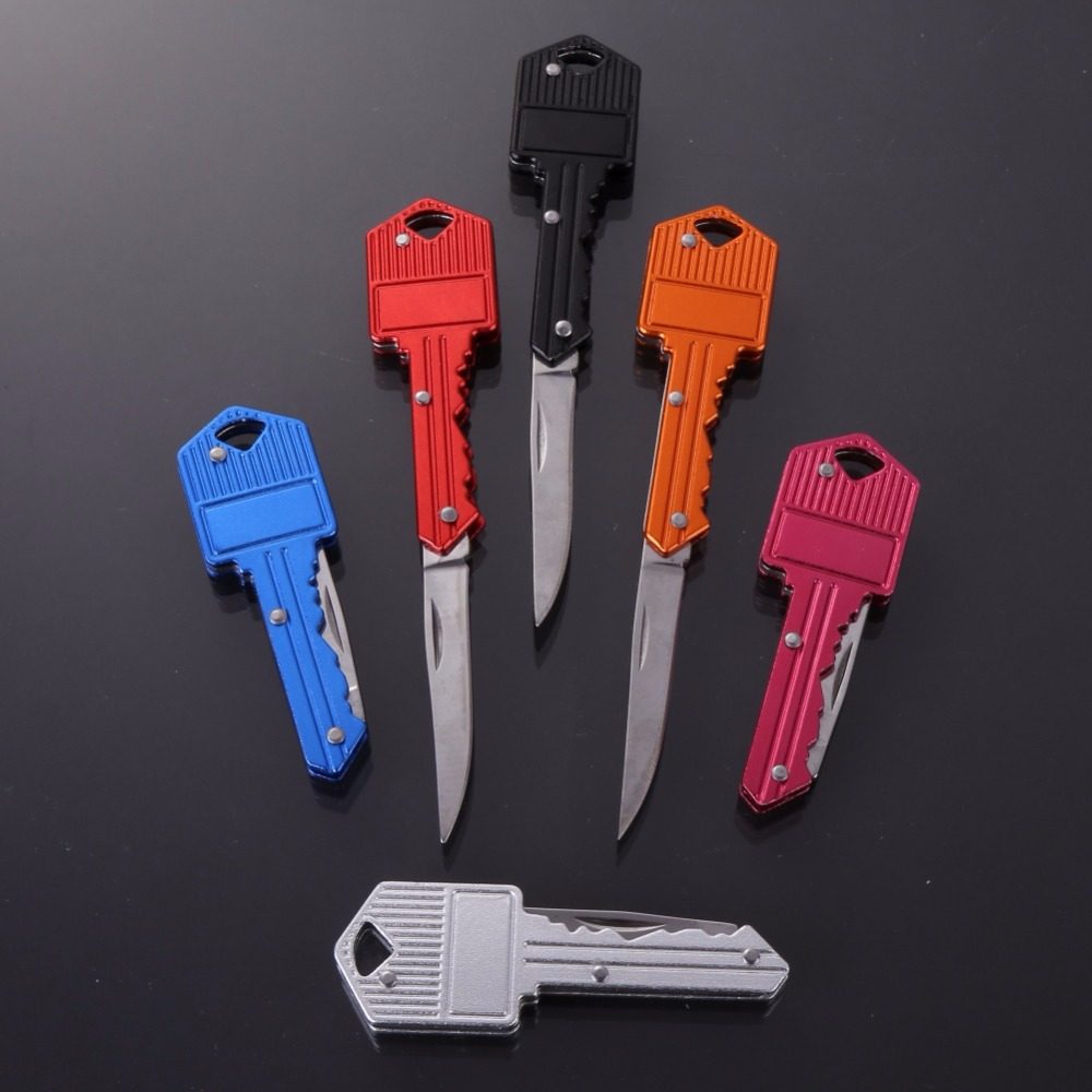 Protable Mini Key Folding Knife Stainless Steel Pocket Knifes Outdoor Tactical Hunting EDC Tool thick stainless steel key shape multipurpose tool knife