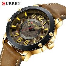цены CURREN Sport Golden Men's Watch Waterproof Analog Male Brown Leather Wristwatch Quartz Watches Montre Homme Relojes Hombre Clock