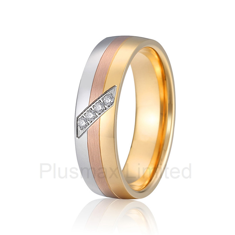 2016 Anel de Casamento fast delivery three color matching womens promise wedding rings for couples anel de casamento titanium satin surface gold color colorful stone titanium promise wedding band rings