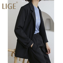 LIGE2019 Women 2 Two Piece Sets Short Gray Solid Blazer + High Waist Pant Office Lady Notched Jacket Suits  Outfits Femm