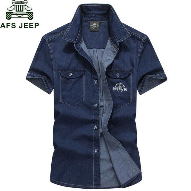 AFS JEEP Brand Clothing Men Shirt Camisa 2017 Denim Shirt Men Camisa Denim Hombre Short Sleeves Cotton Breathable Casual Shirts