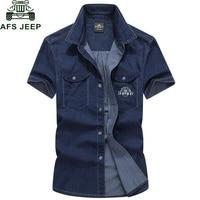 AFS JEEP Brand Clothing Men Shirt Camisa 2016 Denim Shirt Men Camisa Denim Hombre Short Sleeves
