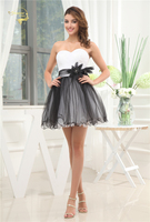 Jeanne Love Tulle Short Cocktail Dress White Black Zipper Back A line Formal Wedding Party Dress Sexy Plus size JO002912