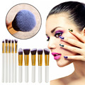 10x Pro Makeup Set Powder Foundation Eyeshadow Eyeliner Lip Cosmetic Brushes Kit Blending Pencil Kabuki Wood Handle (Gold+White)