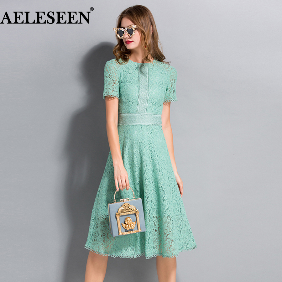 AELESEEN High Quality Long Elegant Dresses Summer 2018 Flare Sleeve Embroidery Runway White Green Hollow Out