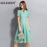 AELESEEN High Quality Long Elegant Dresses Summer 2018 Flare Sleeve Embroidery Runway White / Green Hollow Out Lace Dress Women