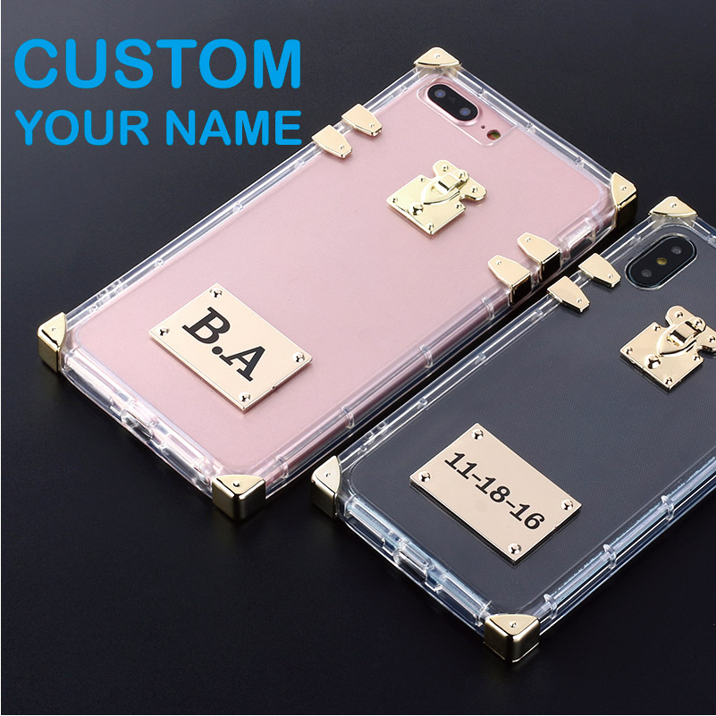 Personalized Trunk Case Metal Plate Laser Engrave Custom Name Text Clear Phone For iPhone 6 6S XS Max XR 7 7Plus 8 8Plus X