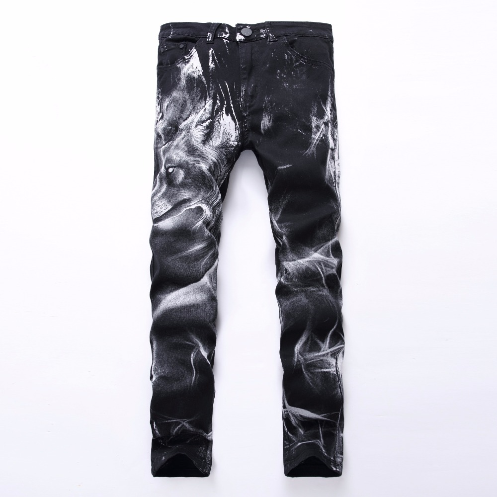 2018 New fashion Men's fashion wolf print stretch denim jeans Slim black painted straight pants Long trousers