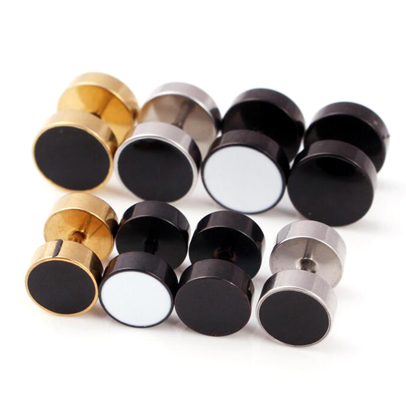 2 piece 316L Stainless Steel Round Stud Earring Black Silver Gold Punk Gothic Ear Piercing Body Jewelry men
