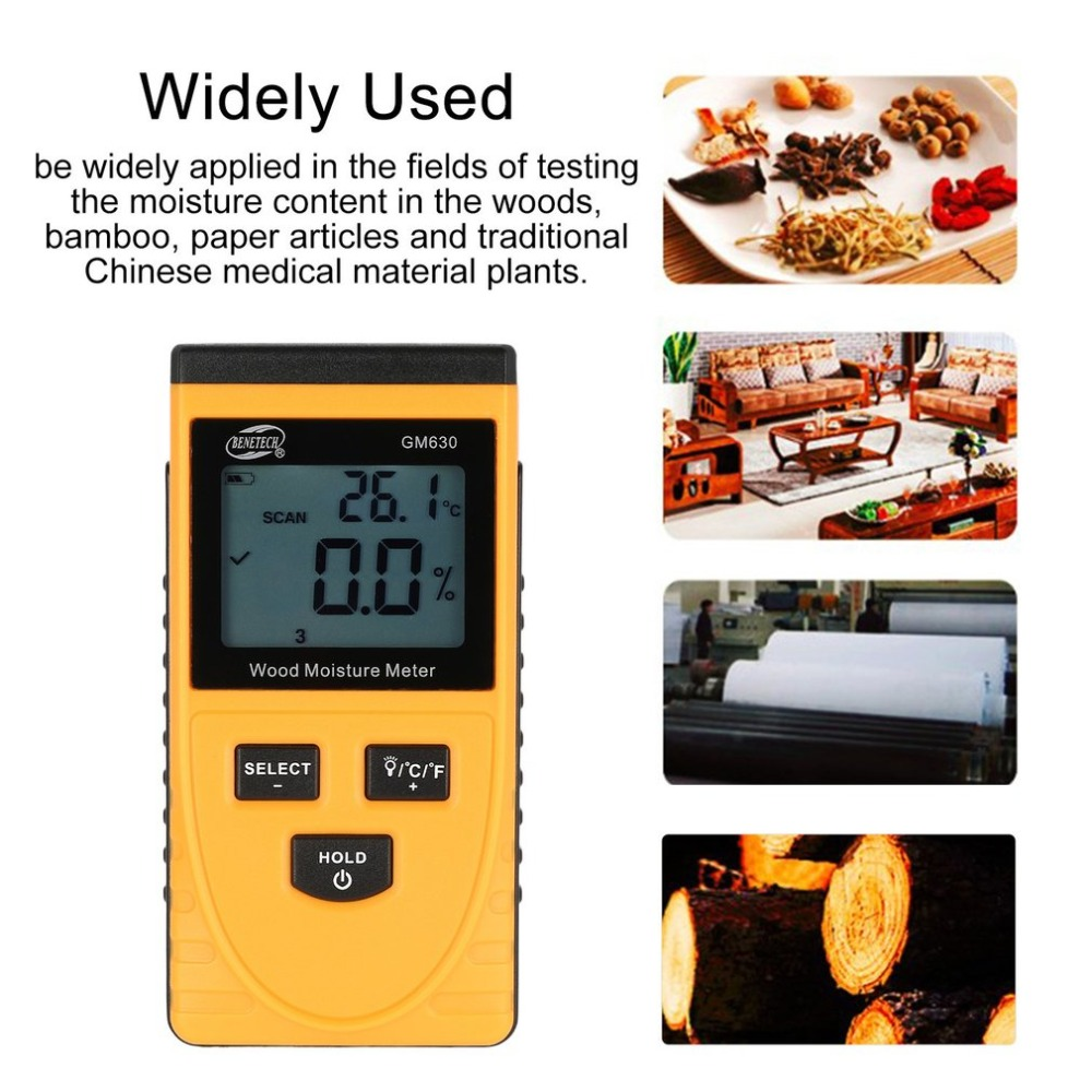 BENETECH Digital LCD Display Wood Soil Moisture Humidity Test Water Content Meter Detector Density Hygrometer Vochtmeter GM630 1pc soil hygrometer humidity detection module moisture water sensor top sale