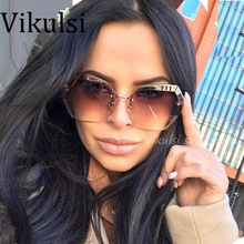 2017 Transparent Gradient Sun Glasses Women Sunglasses Elegant Optics Rimless lunette femme Lady Oversized Famous Brand Designer