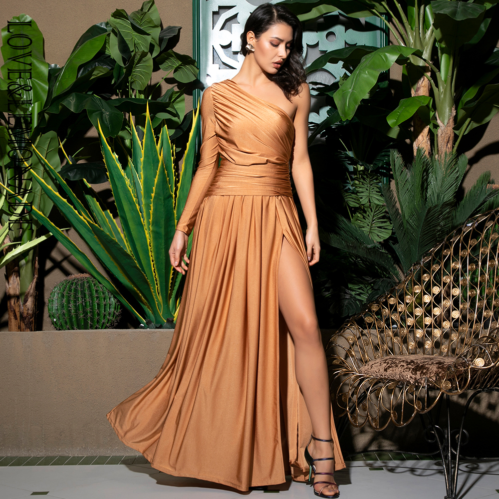 Love Lemonade Sexy Orange One Shoulder Shirring Detail Cut Out Elastic Material Long Dress LM81741