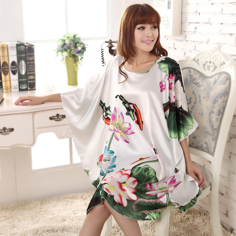 New Arrival Chinese Women Summer Silk Sleepwear Sexy Mini Robe Dress Printed Kaftan Bath Night Gown Flower One Size L01