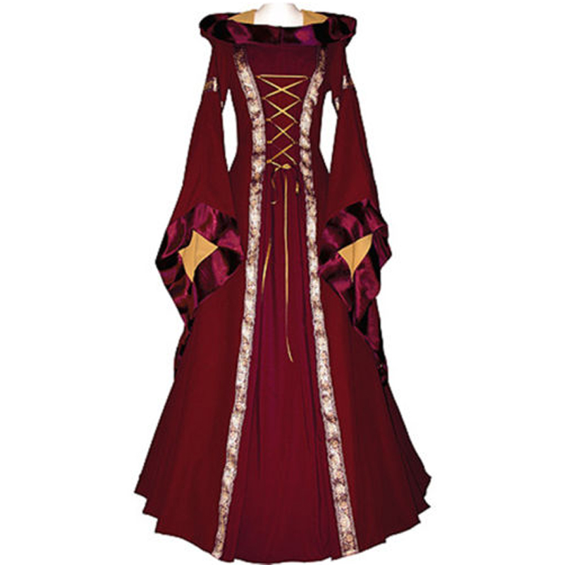 2017 New Renaissance Victorian Medieval Maid Long Dresses Women Gothic Dresses Brown Gowns Masquerade Party Costumes