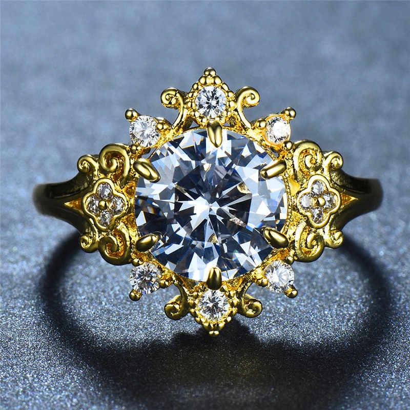 หญิงหรูหรา Big Zircon แหวนหินคริสตัลสี Yellow Gold แหวนแต่งงานแหวนสัญญาหมั้นแหวน