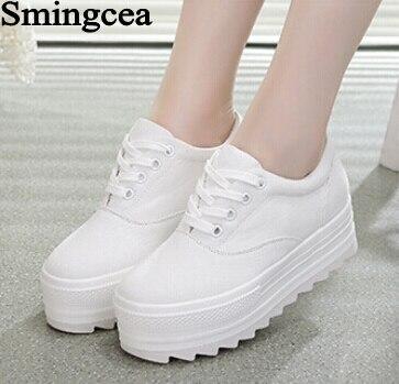 4.8 cm Suela Gruesa Mollete Zapatos de Lona Mujeres Zapatos de Plataforma de Enc