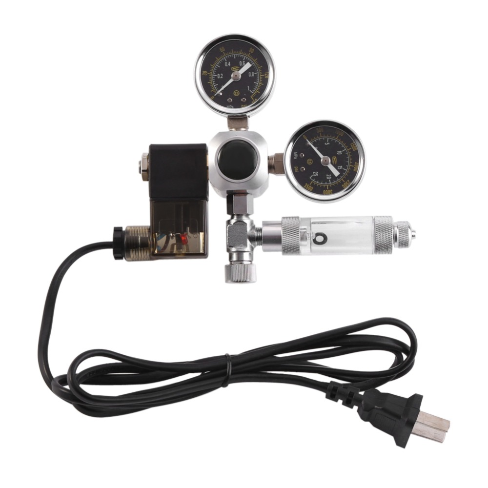1 pcs Dual Gauge CO2 Regulator Aquarium System Bubble Counter Solenoid Valve Pressure Gauge Regulator 220V