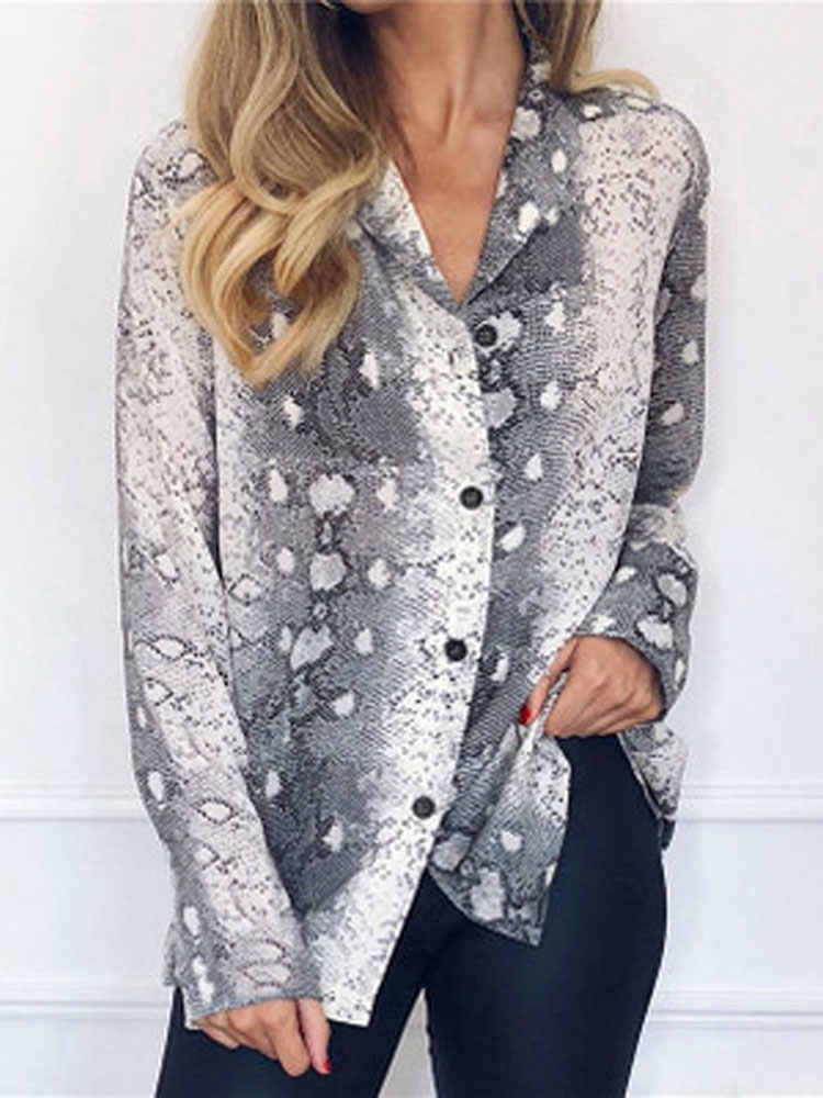 HEE GRAND 2019 Women New Shirts Spring and Autumn Long Sleeve Casual Chiffon Snake Printed Shirt Sexy V-Neck Loose Shirt WCL1647