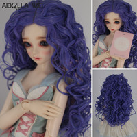 Fashion Long Curly Hair Wig Hairpiece for 1/3 1/4 1/6 BJD Dolls Purple Color Hot Sale Doll Accessories Handmade Toy 736