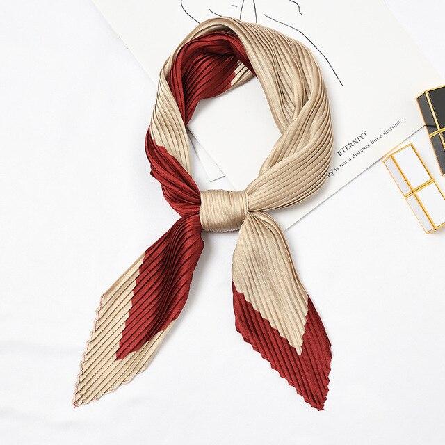 Морщинка площади Шелковый шарф малого шеи Бандана для Для женщин деформации Однотонная одежда головы украшение для шарфа модный принт платки новый [3924]