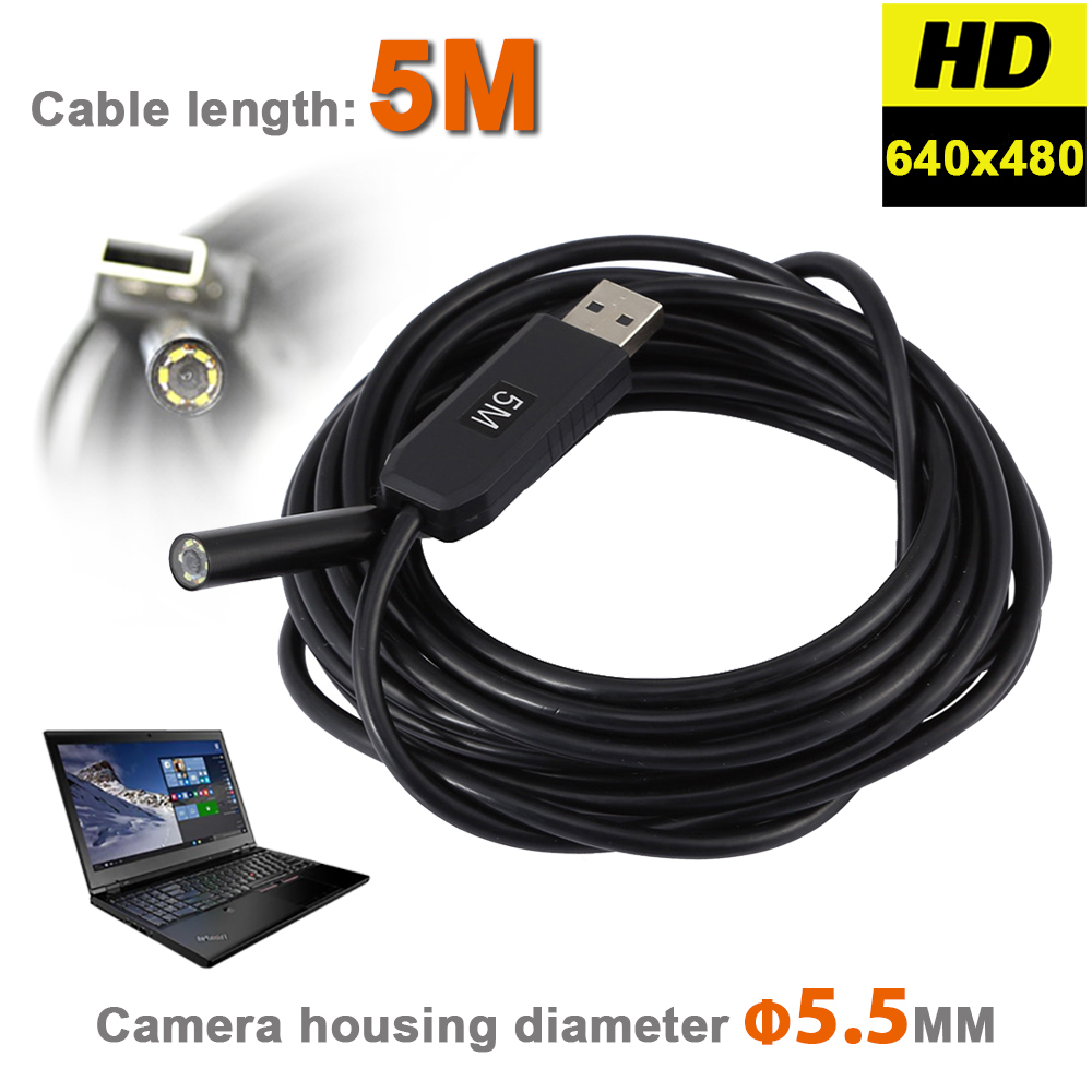 6 LEDs 5.5MM USB Endoscope Camera IP67 Waterproof Snake Inspection Borescope Video Tube Pipe USB MINI Camera With 5M Rigid Cable bullet camera tube camera headset holder with varied size in diameter