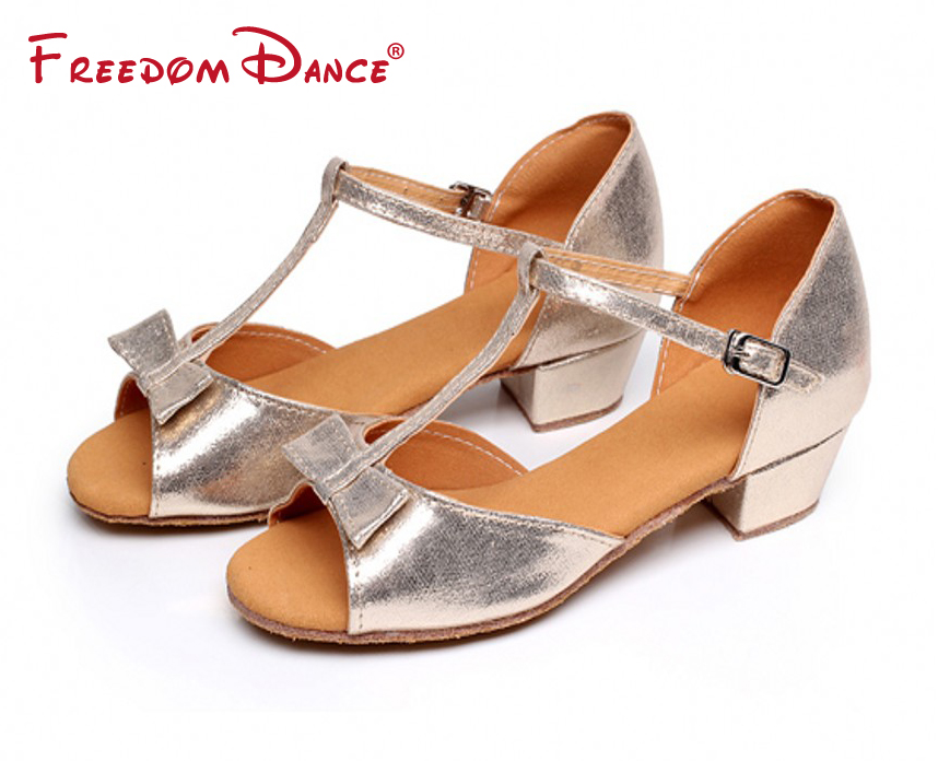 FreedomDance Company Discount Price Girls Teenagers Women Leather Fabric Bowtie Design Low Heel Latin Dance Shoes Party Shoes Summer Dancing Sansals