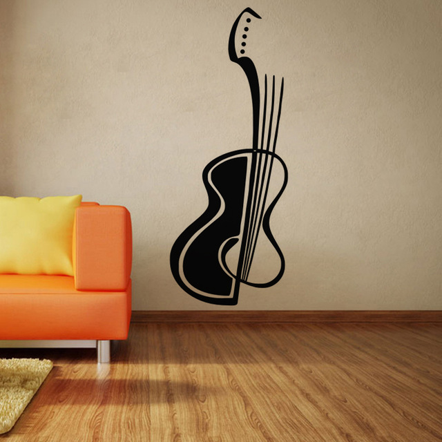 Large Size Guitar Wall Stickers Simple Design Home Decor Decals Vinyl Art Music
