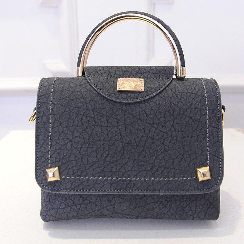 2016 New Korean Style Ladies font b Handbag b font Semicircular Handles Rivet Embossing Fashion Bag