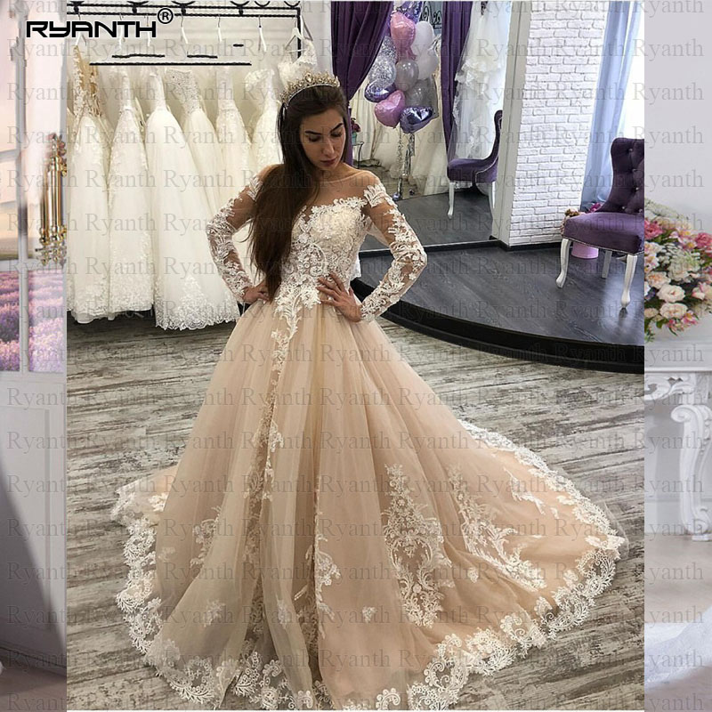 Vestidos de novia 2019 Luxury Champagne Long Sleeves Lace Ball Gown Wedding Dress Custom Made Wedding gowns Robe De Mariage