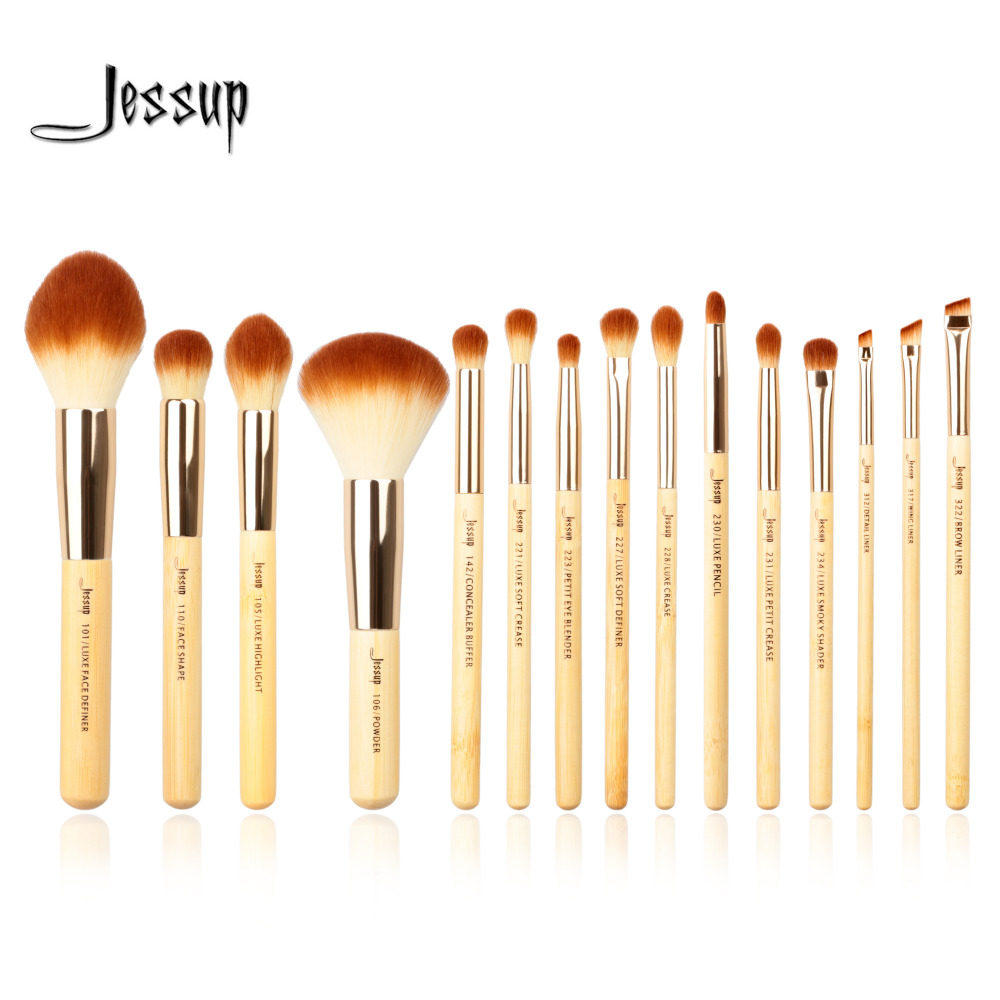 Jessup Brand 15pcs Beauty Bamboo Professional Makeup Brushes brush Set Make up Tools kit Foundation Powder cosmetics msq 15pcs professional makeup brushes set foundation fiber goat hair make up brush kit with pu leather case makeup beauty tool