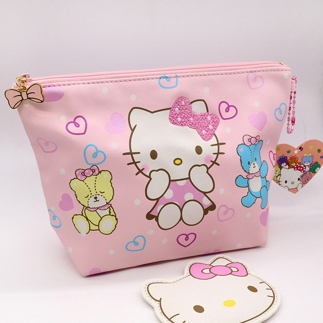Fashion cosmetic bag High quality PU hello kitty makeup pouch Highcapacity toiletry bag pink color is very cute