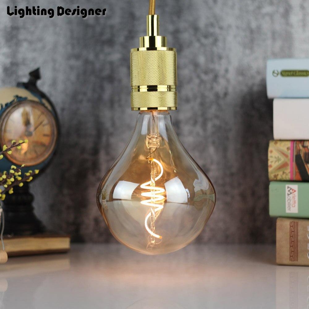 цена на 220V 4W Special G125 new design led edison bulb spiral light amber retro saving lamp vintage filament bubble ball bulb E27 light