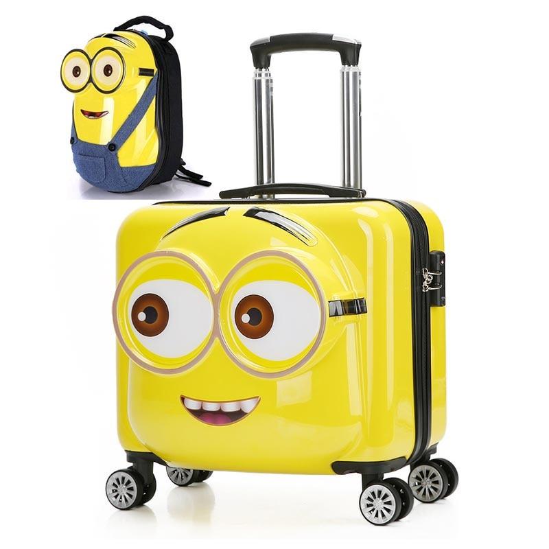 LeTrend 3D لطيف الكرتون الأطفال المتداول الأمتعة مجموعة سبينر حقيبة عجلات الطلاب/الاطفال المقصورة عربة 20 بوصة حقيبة سفر-في حقائب من حقائب وأمتعة على  مجموعة 3